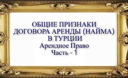 ПОНЯТИЯ ДОГОВОРА АРЕНДЫ (НАЙМА) В ТУРЦИИ